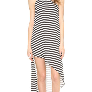 Stripe One-Shoulder Asymmetrical Dress