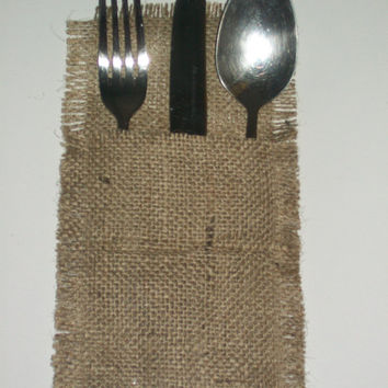 Rustic burlap wedding Cutlery holders, Rustic table cutlery, burlap cutlery holders, burlap silverware pocket,  burlap cutlery