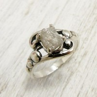 Dotted Scroll Uncut Diamond Ring-Rough Diamond Sterling  Silver Ring