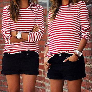 Casual Women Red White Striped Long Sleeve shirts Cotton Loose Shirt Casual Tops pullovers Red M