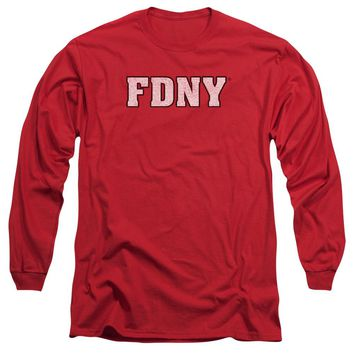 FDNY Long Sleeve T-Shirt New York Fire Dept Logo Red Tee