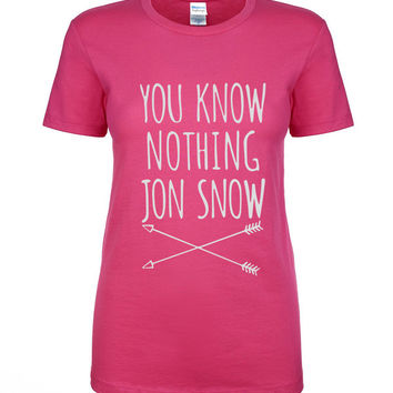 Games Of Thrones You Know Nothing Jon Snow Printed Letter T shirt 2016 summer woman t-shirt cotton high quality slim top tees