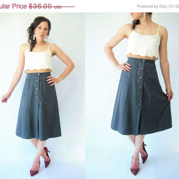 ON SALE.... Vintage 70's Military Gray Wool High Waist Skirt / Button Front / Small