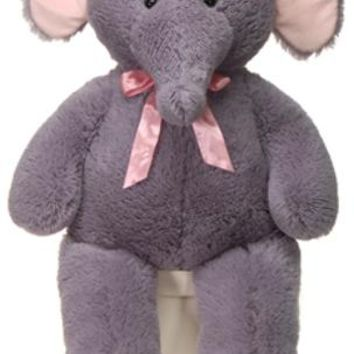 """39"""" cuddle elephant with pink ribbon Case of 4"""