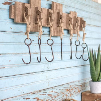 Recycled Wooden Coat Rack with Seven Hanging Hooks