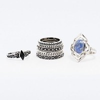 Stone Ring Pack in Silver - Urban Outfitters