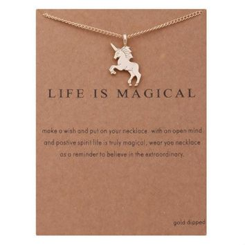 Fashion Jewelry Life Is Magical Unicorn Statement Necklace Women