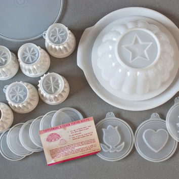 Vintage Tupperware Jello Mold Set, New Old Stock, Jel-N-Serve Mold, Jel-ette Set, Original Instructions, 25 pieces