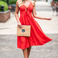 Let's Have Fun Midi Dress, Red