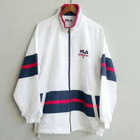 Blue red white FILA nylon unisex tennis hipster ibiza front zippered jacket windbreaker, for training running, size L