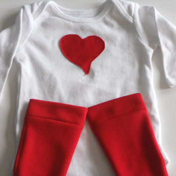 Valentine's Day Red Heart Onsie/Leg Warmer Set Boys or Girls, Heart Onsie Leg Warmer Set Baby, Heart Onsie Leg Warmer Set Toddler