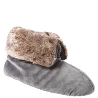 Isotoner Signature Holiday Soft Plush Velour Bootie Slippers