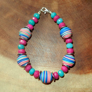 Turquoise and Pink Polymer Clay Bracelet, Colorful Bright Beaded Bracelet, Womens Bracelet, 8 and a Half Inches, Gift for Her