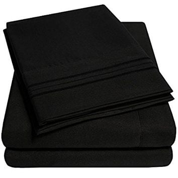 1500 Supreme Collection Extra Soft Twin XL Sheets Set, Black - Luxury Bed Sheets Set With Deep Pocket Wrinkle Free Hypoallergenic Bedding, Over 40 Colors, Twin XL Size, Black