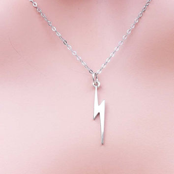 Lightning Bolt Necklace - ALL Sterling Silver, Thunder Bolt Pendant, Delicate Dainty- simple everyday jewelry - gift for BFF
