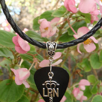 LPN Registered Nurse Braided Necklace - Professional Guitar Pick Jewelry, Choice 12 Colors Custom Size, Medical Jewelry