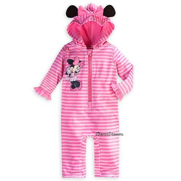 Licensed cool Minnie Mouse Swim Sunsuit for Baby Disney Store 50+ UPF Full body Suit w/Hood
