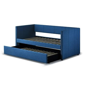 Twin size Blue Fabric Upholstered Daybed with Pull out Trundle