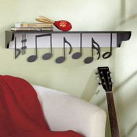 Musical Notes Themed Wall Shelf Music Lover Display Shelf Storage Home Decor New