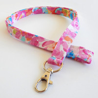 Floral Lanyard / Abstract Floral Print / Colorful Keychain / Watercolor Floral / Pink / Key Lanyard / ID Badge Holder / Flower Petals