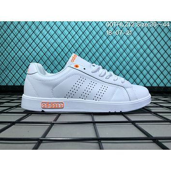 JIJS2 A043  EQTsh NEOER Leather Punching Breathable Casual Skate Shoes White Orange