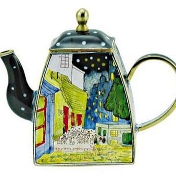 Night Cafe Street Scene by Van Gogh on Miniature Teapot 4H