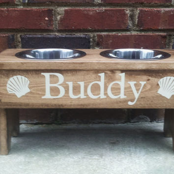 Elevated Dog Bowl Stand Personalized  9'' Tall With  Coastal Graphic