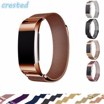 CREYMS9 CRESTED Luxury Magnetic Milanese Loop Wrist strap for Fitbit Charge 2 Link Bracelet Stainless Steel Band Adjustable Closure