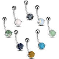 "Set of 8 Belly Navel Rings 14g 3/8"" including Semi-Precious Stones & Opalized Glass"