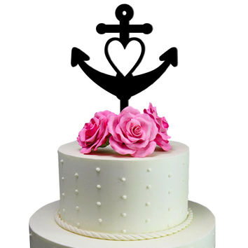 Wedding Cake Topper Heart Anchor Decoration Sail Yatch