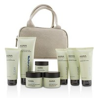 Ahava Essential Beauty Case: Body Exfoliator+Body Lotion+Cleanser+Facial Exfoliator+Mask+Day Cream+Night Cream+Eye Cream+Beige Bag Skincare