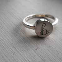 initial ring letter ring sterling silver jewelry lowercase initial ring personalized ring name ring