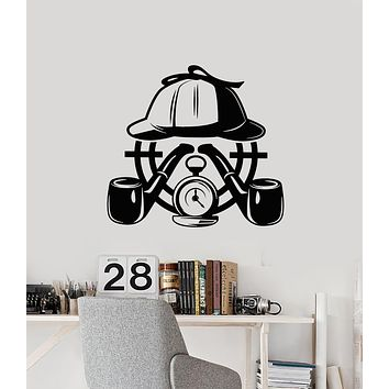 Vinyl Wall Decal Detective Agency Story Smoking Pipe Target Stickers Mural (g3037)