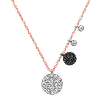 Pave Diamond Disc Necklace with Charms