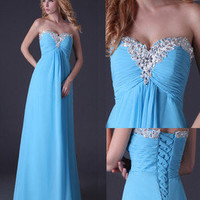 Chiffon Formal Bridesmaid Evening Party Prom Gown Sweetheart Bead Wedding Dress