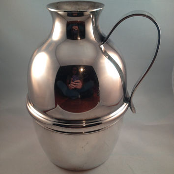 Silver Jug, British Sterling Silver Thermos or Hot Water Jug