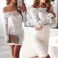 Women Elegant Lace Dress Bandage Bodycon Sleeveless Evening Party Club Short Mini Dress