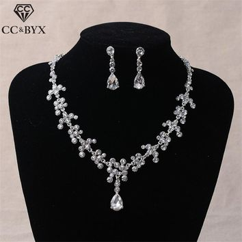 CC bridal jewelry sets for women stud earrings necklace water drop engagement wedding accessories party beach rhinestone TL071