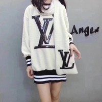 """Louis Vuitton"" Women Fashion Stripe Sequin Letter Embroidery Long Sleeve Lamb Wool Sweater Dress Scarf Set Two-Piece"