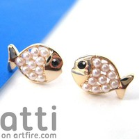 Small Fish Sea Animal Stud Earrings in Gold with Pearl like Beads