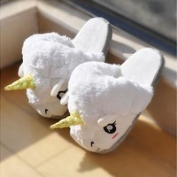 Hot Sale Fashion Lovely High Quality Fantasy White Unicorn Plush Cotton Slippers Slip On Adult Size Creative (Color: White) [8833999756]
