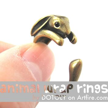 Bunny Rabbit Animal Wrap Around Ring in Brass - Sizes 4 to 9 Available