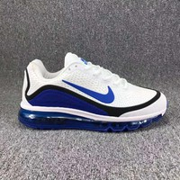 Nike Air Max Trending Men Casual Sport Running Sneakers Shoes Shock Absorption Shoes White(Blue Hook) I-CSXY