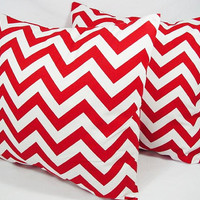 Two Chevron Decorative Pillow Covers Red and White - 18 x 18 inches Throw Pillow Couch Pillow Cushion Cover Accent Pillow