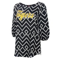 Mizzou Tigers Women's Geometric Print Black 3/4 Sleeve Tunic