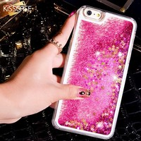KISCASE Dynamic Liquid Phone Cases For iPhone 6 6s 7 Case Bling Sequin Quicksand Clear Hard Cover Coque For iPhone 6 6s 7 Plus