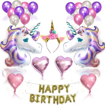 H&D Unicorn Theme Decor Pack, Kids Birthday Party Supplies Set, Glitter Headband for Girl, Gold Banner, Foil and Latex Balloons