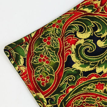 Elegant Quilted Christmas  Coasters, Quilted Fabric Coasters, Set of 4, Holiday Mug Rugs, Red, Green and Gold Coasters