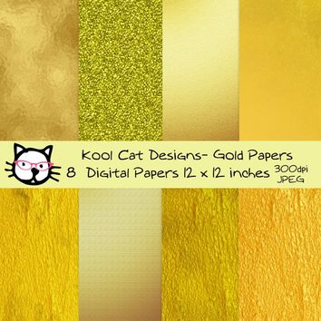 Gold Papers Digital  Paper Pack - Gold Foil  Papers - Gold Patterns - Scrapbooking - Printable Paper - Paper crafts - Card making