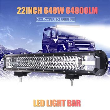 22 Inch 648W 64800LM 6000K LED Work Light Bar Flood Spot Combo Driving Lamp Car Truck Offroad Waterproof IP68  (Color: Black)